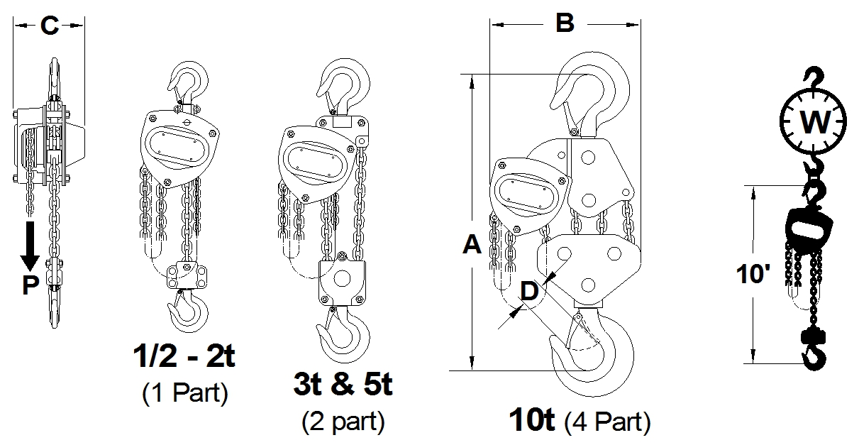Hand Chain Hoist CB Technical Drawing